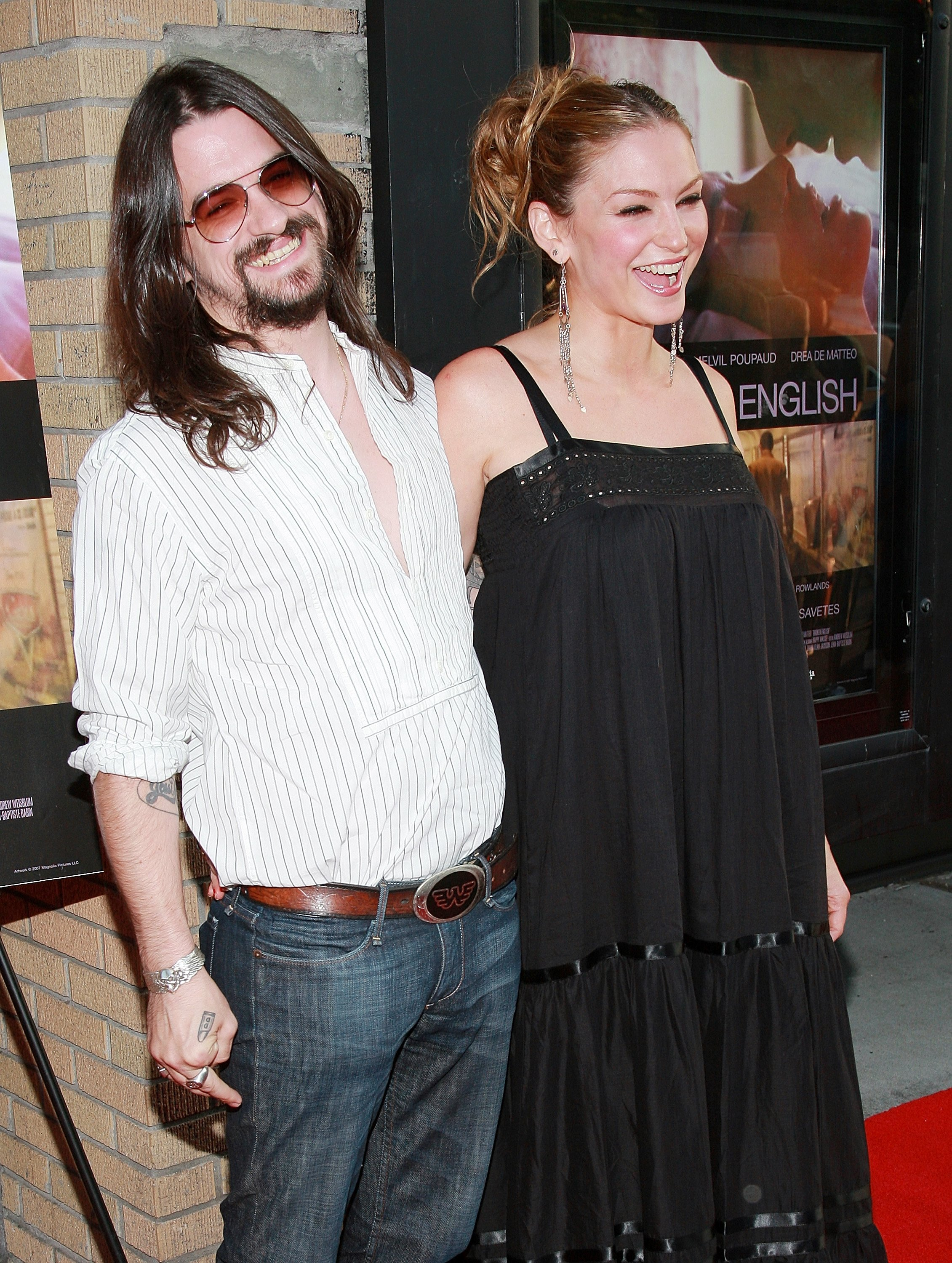 "Drea de Matteo and boyfriend, singer Shooter Jennings attend the premiere of ""Broken English"" at the Landmark Sunshine Cinema June 18, 2007, in New York City. 