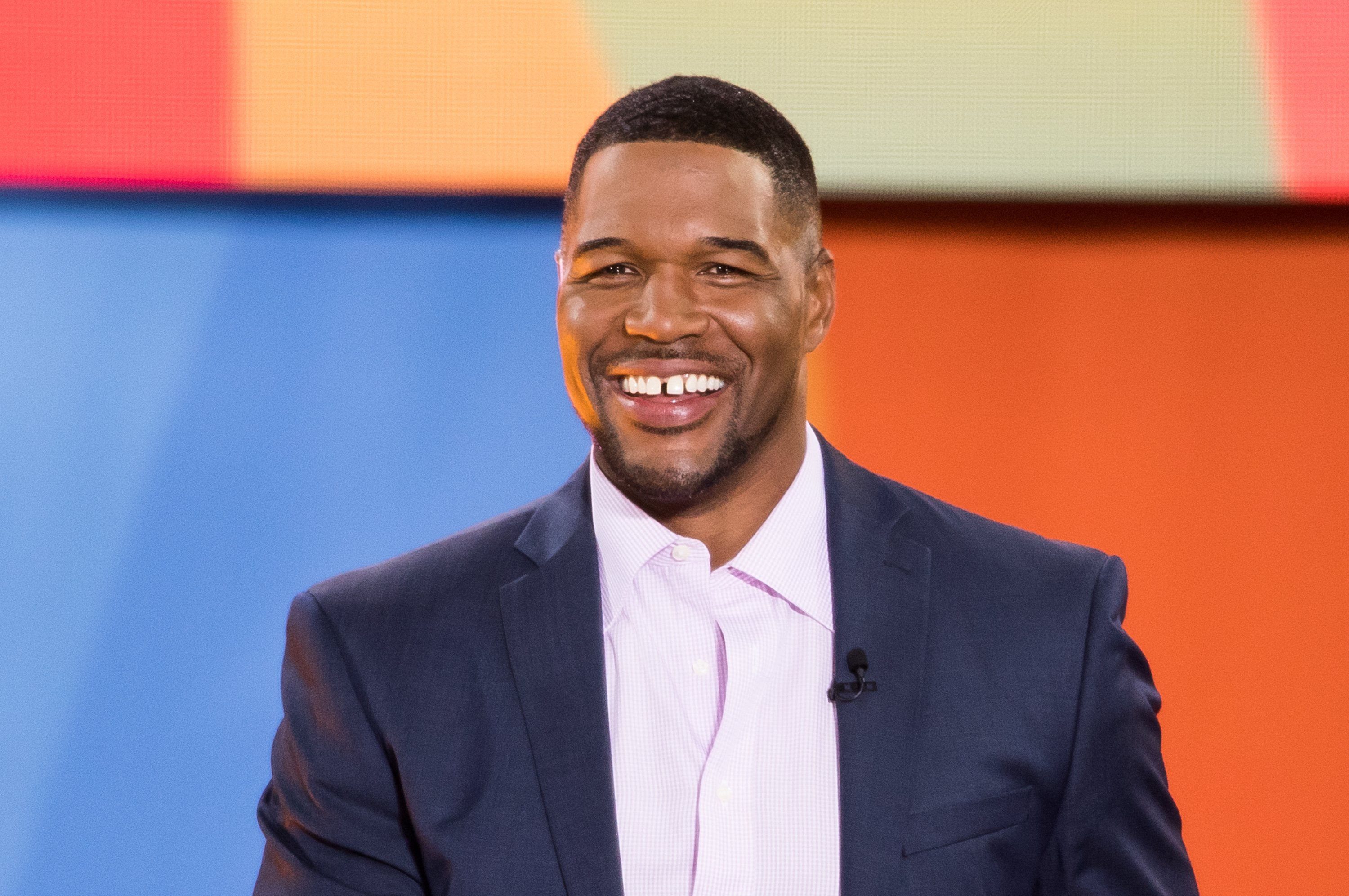 """Michael Strahan on the set of """"Good Morning America"""" at Rumsey Playfield, Central Park on July 6, 2018. 
