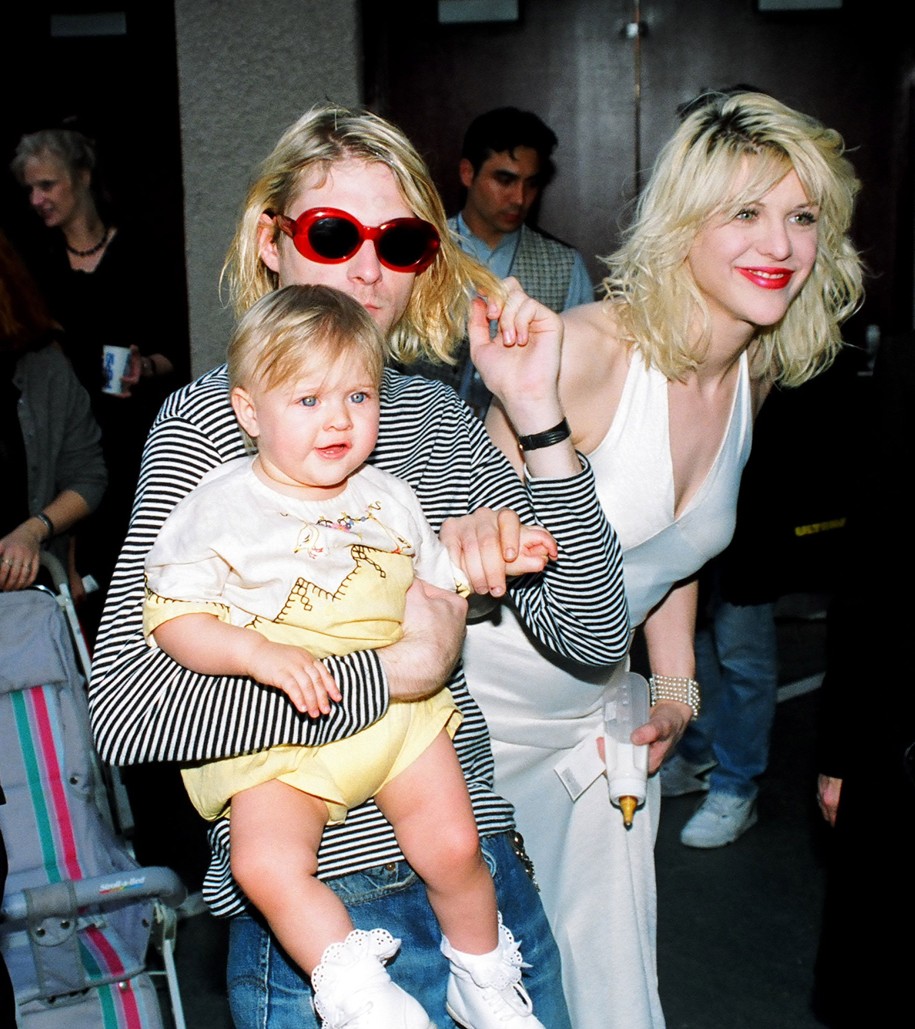 Kurt Cobain of Nirvana, Courtney Love and daughter Frances at the 1993 MTV Video Music Awards | Source: Getty Images