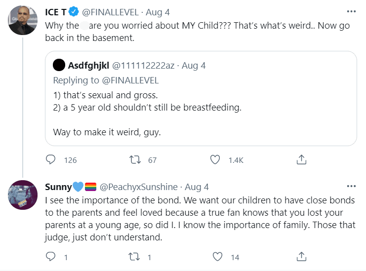 Ice T interacting with a Twitter user who criticized his wife for breastfeeding their daughter | Source: twitter.com/finallevel
