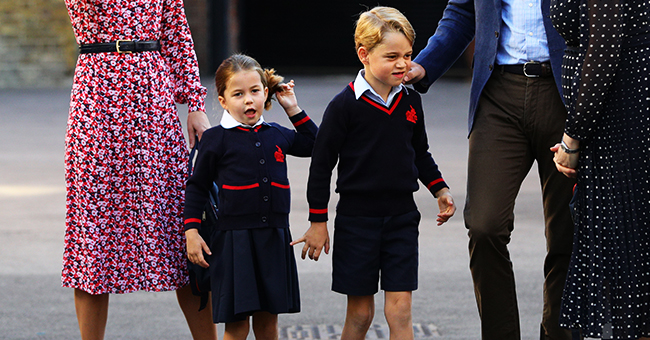 First Day of School: Princess Charlotte Playfully Pulls Her Ponytail Arriving with Prince George