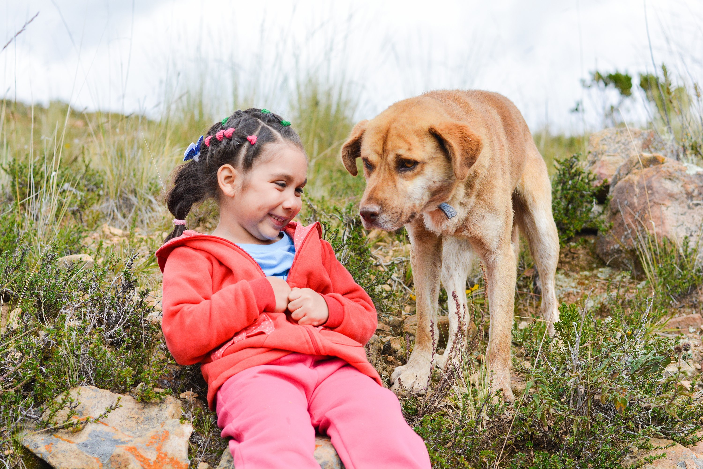 Una niña se divierte junto a un perro. Fuente: YouTube / OkaloosaSheriff