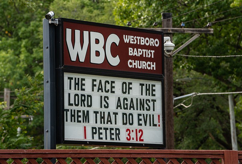 A sign at the Westboro Baptist Church in Topeka, Kansas taken in 2018 | Source: Wikimedia Commons/tony@tonywebster.com