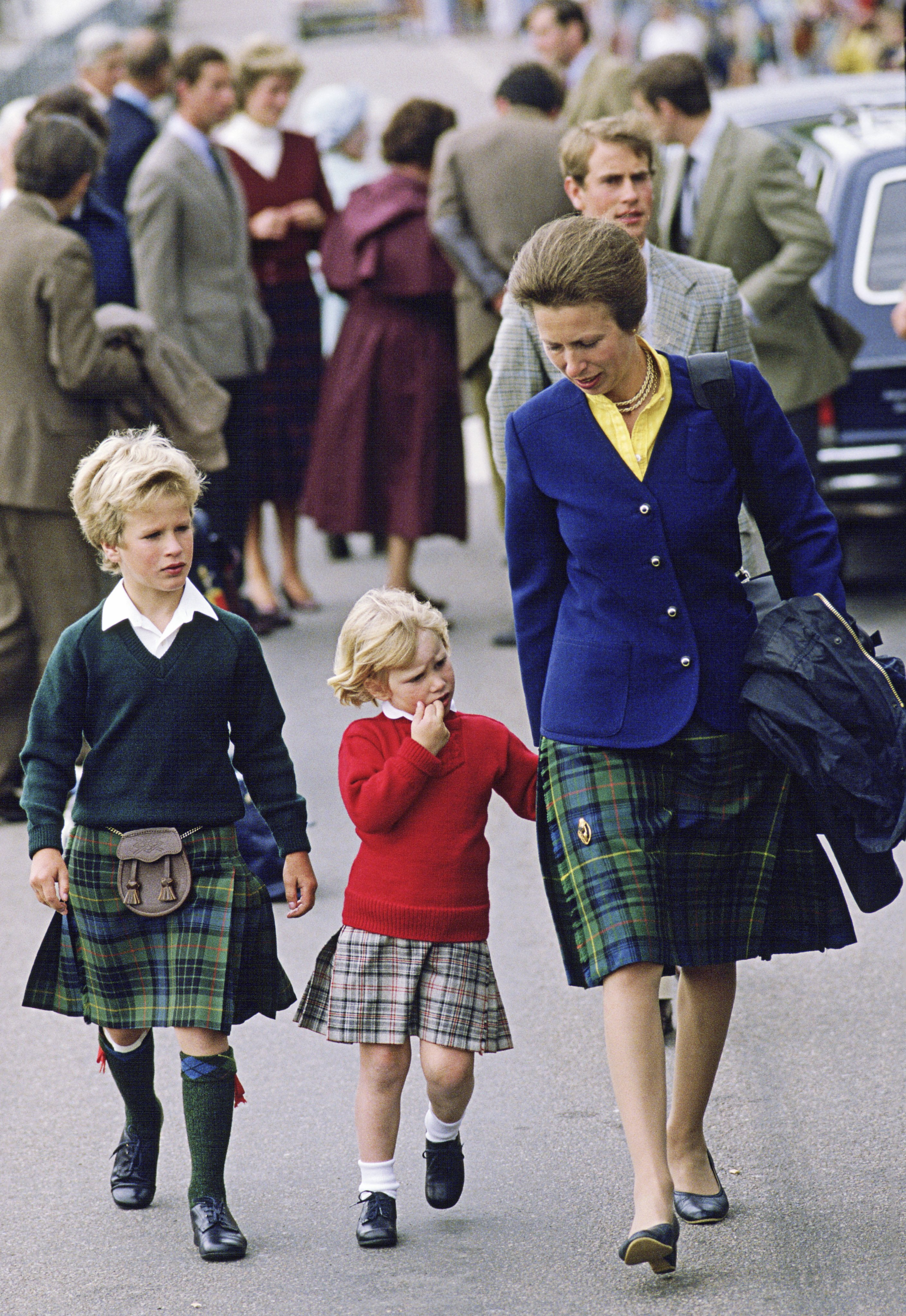 Princess Anne with children Zara and Peter Phillips. | Photo: Getty Images