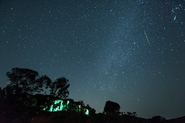 A meteor streaks across the night sky during the Geminid Meteor Shower over Harishchandra Fort on December 15, 2018. | Photo: Getty Images
