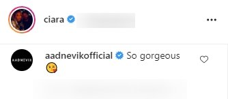 Aadnevik's comment on Ciara and her daughter Sienna's natural hair picture. | Photo: Instagram/Ciara