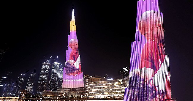 Burj Khalifa, World's Tallest Building in Dubai, Lit up in Honor of Kobe Bryant and His Daughter Gianna