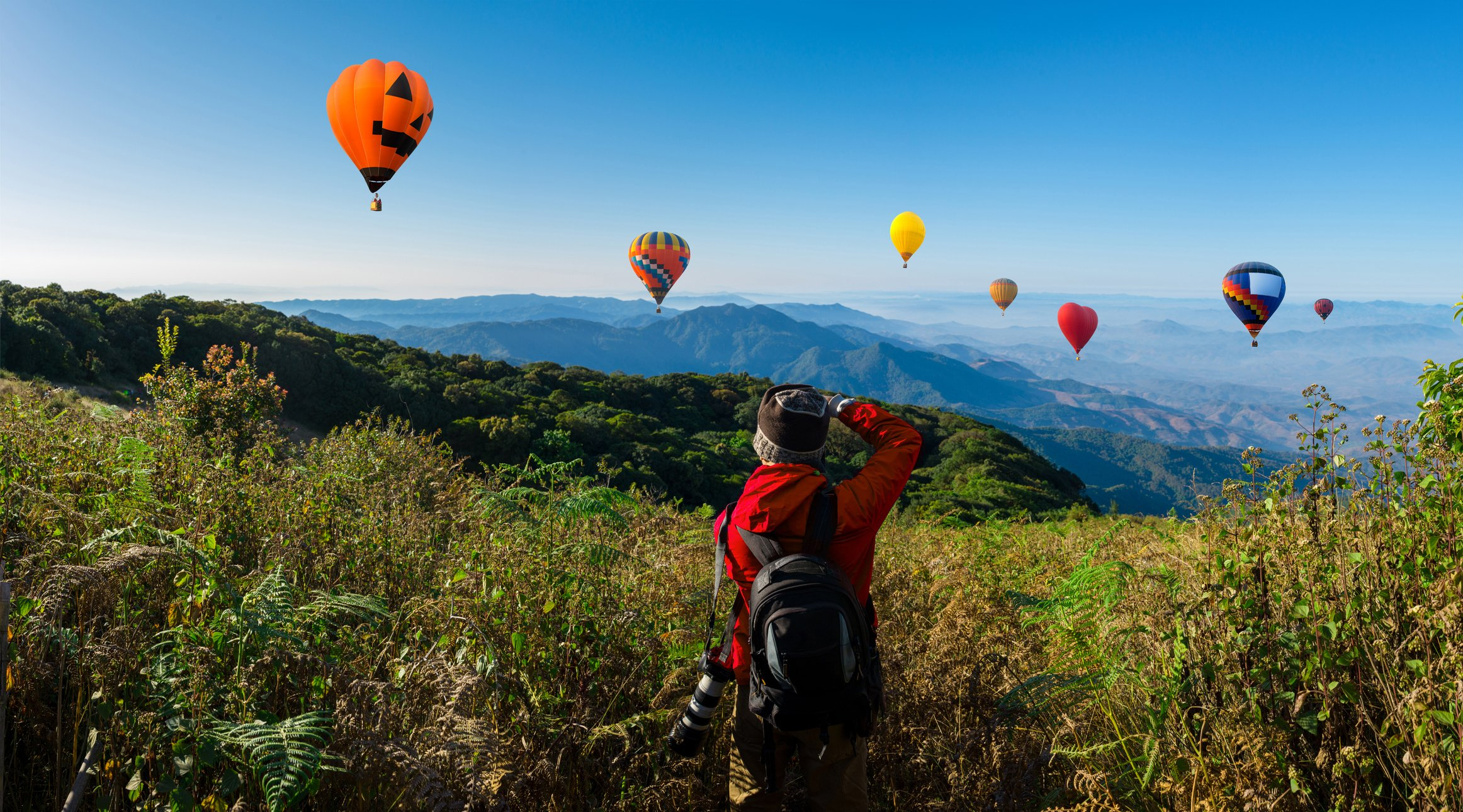 Rear view of a man looking at hot air balloons flying against the sky   Photo: Getty Images