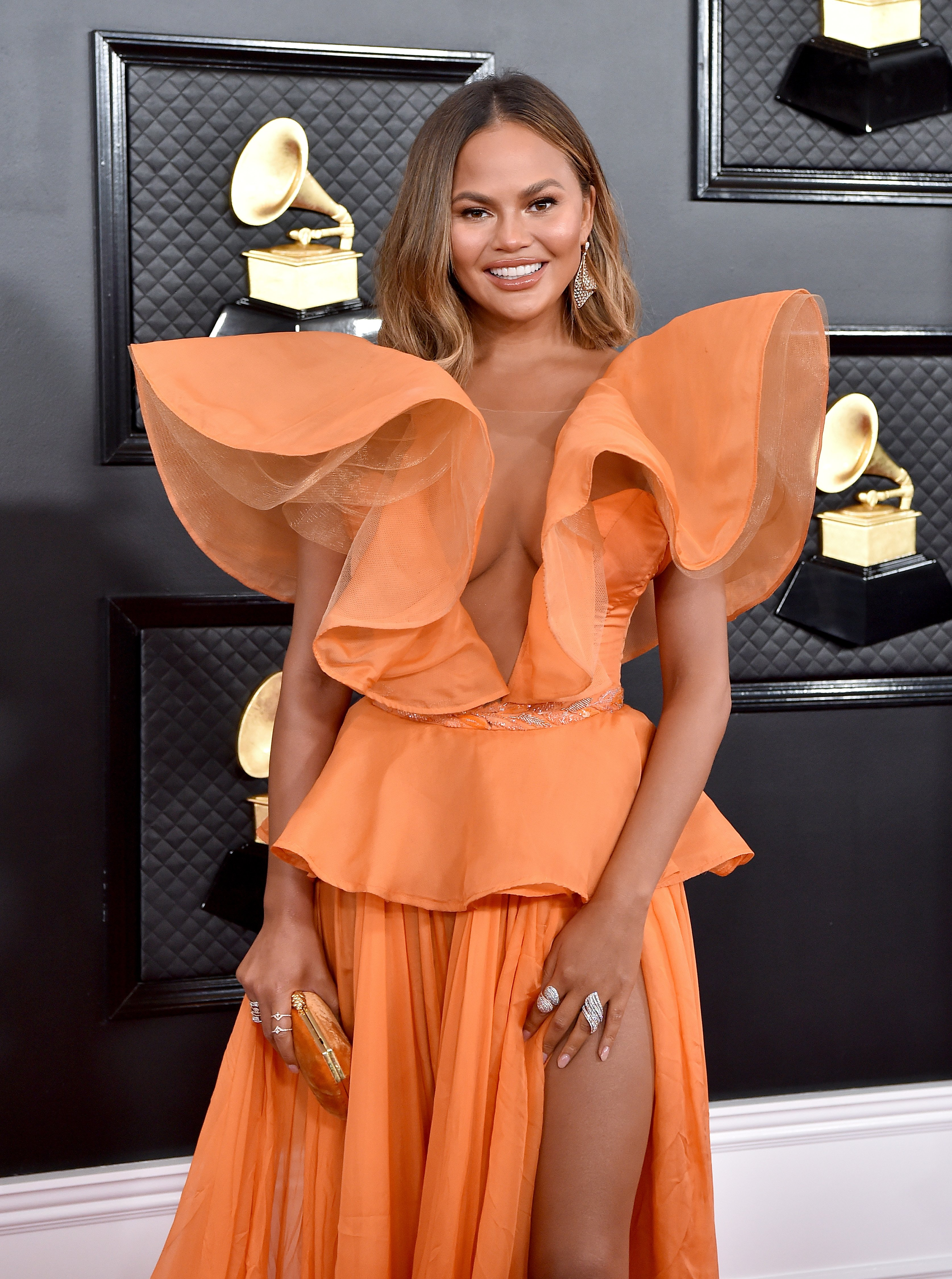 Chrissy Teigen at the 62nd Annual Grammy Awards at Staples Center on January 26, 2020 in Los Angeles, California.|Source: Getty Images