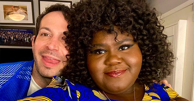 Gabby Sidibe Looks Gorgeous Sporting Curly Hair & Blue Floral Dress in New Pics with Her Fiancé