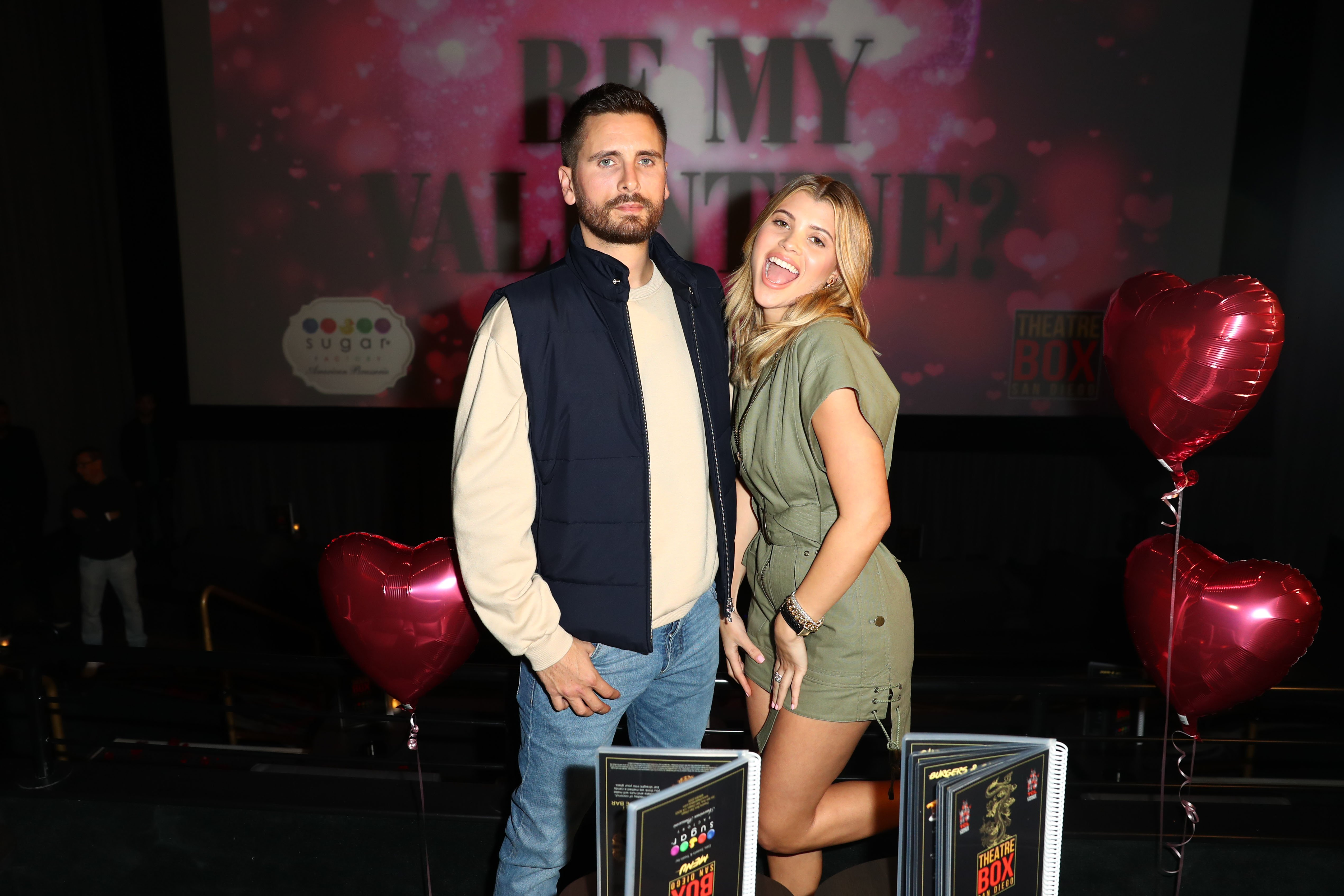 Scott Disick and Sofia Richie celebrate Valentine's Day at San Diego's new Theatre Box® Entertainment Complex on February 14, 2019, in San Diego, California. | Source: Getty Images.