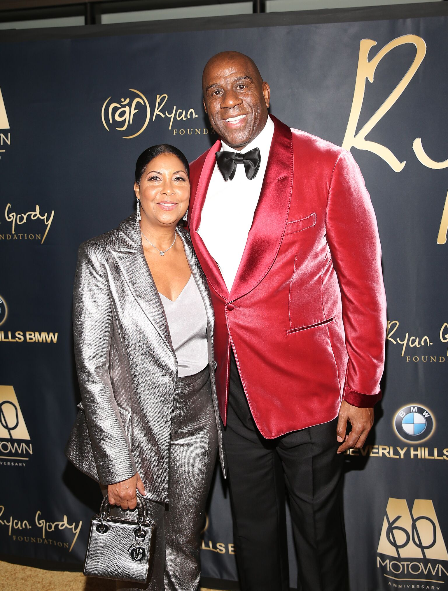"Cookie Johnson and Earvin ""Magic"" Johnson attend the Ryan Gordy Foundation ""60 Years of Motown"" Celebration at the Waldorf Astoria Beverly Hills 