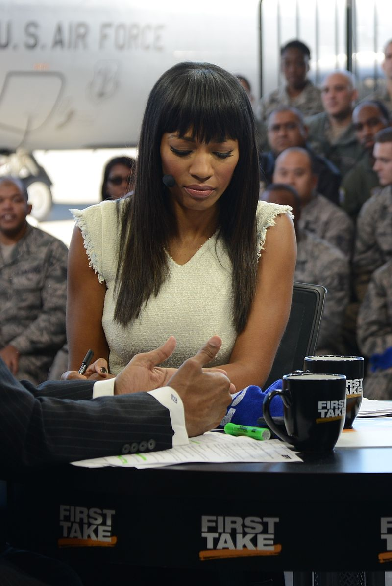 Cari Champion during a broadcast of First Take in 2014/ Source: Wikimedia