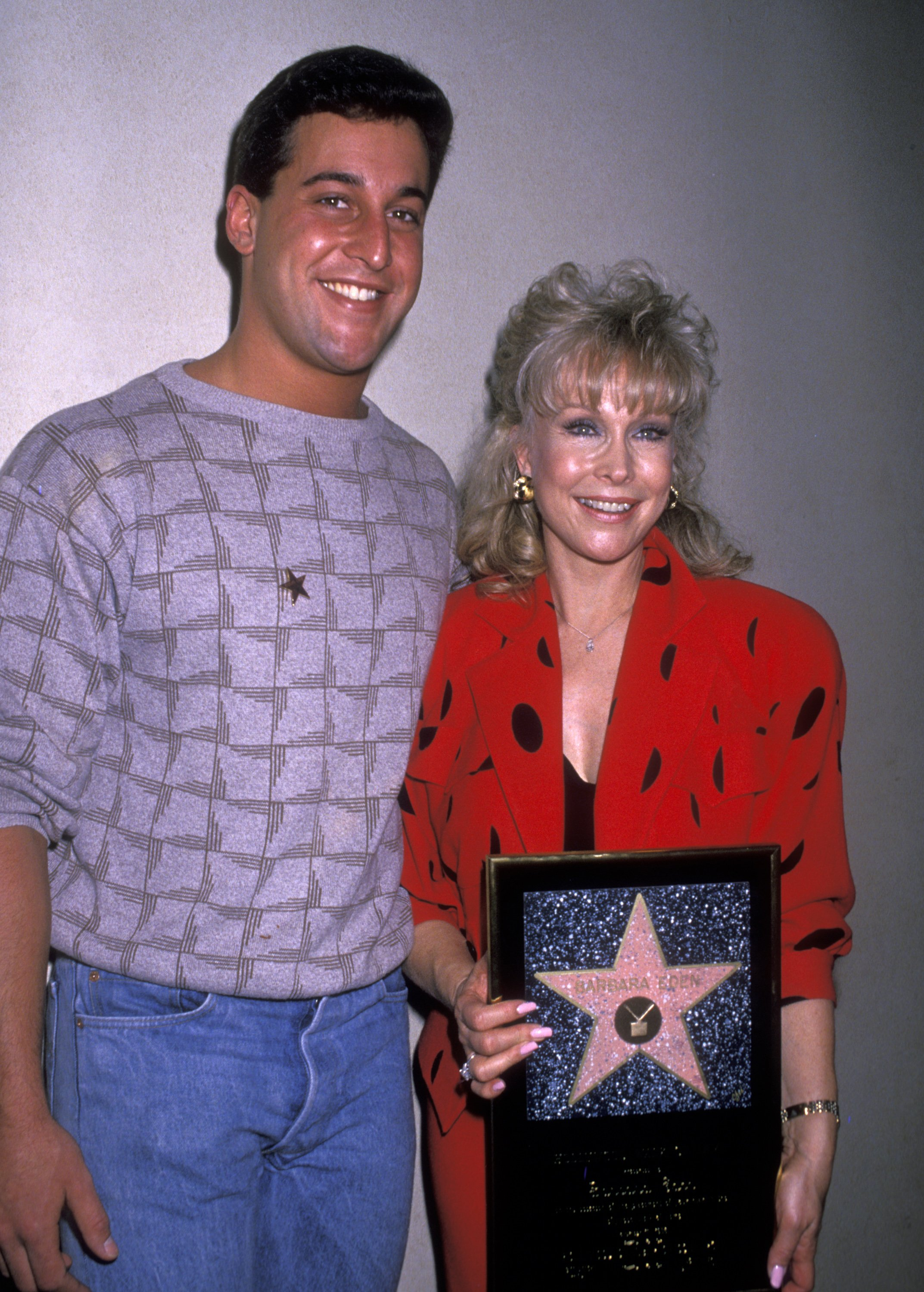 """Actress Barbara Eden and son Matthew Ansara attend the """"Hollywood Walk of Fame Ceremony Honoring Barbara Eden with a Star"""" on November 17, 1988 at 7003 Hollywood Boulevard in Hollywood, California.
