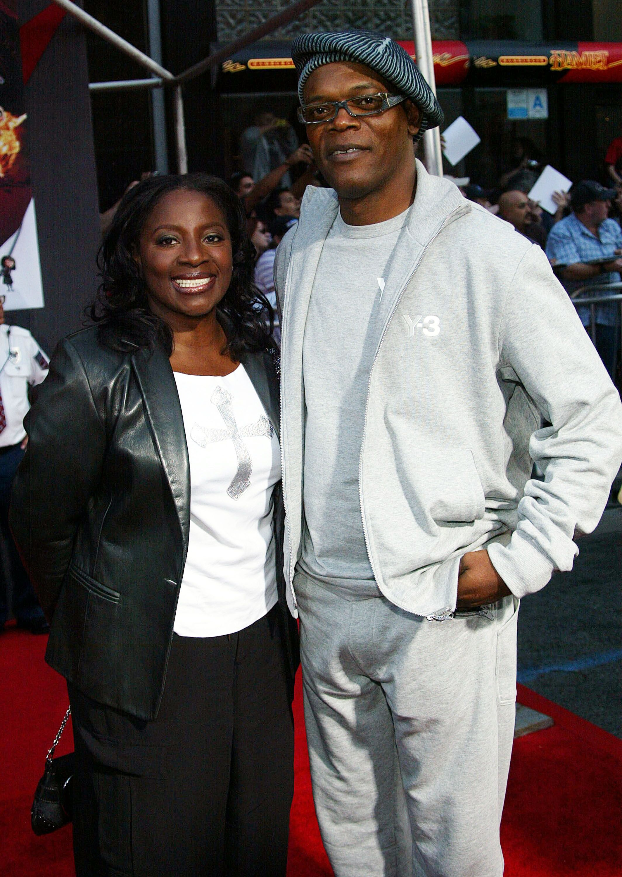 """Samuel L. Jackson and wife LaTanya Richardson at the film premiere of """"The Incredibles"""" in Hollywood, California in 2004 