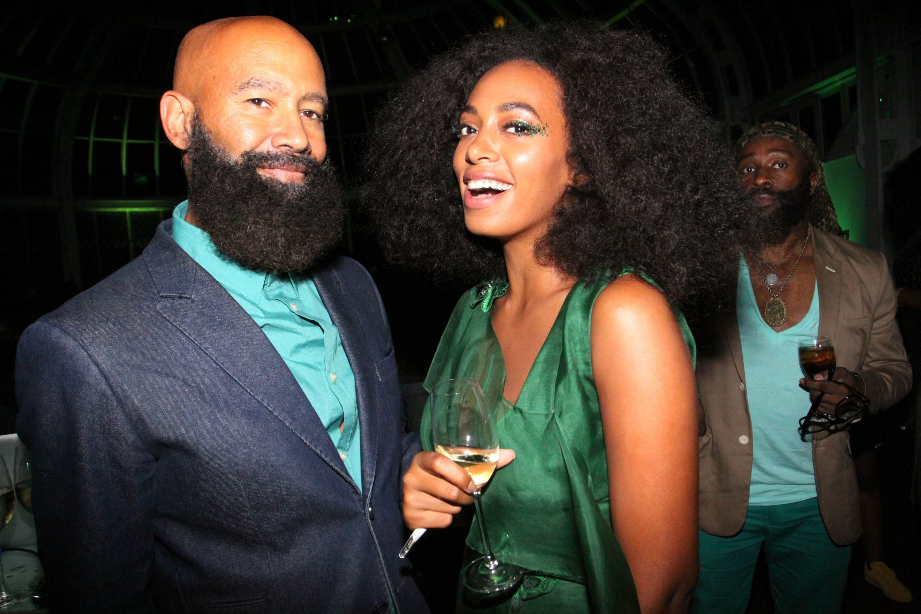 "Solange Knowles and Alan Ferguson during the ""You've Got To Be Seen Green!"" party hosted by Solange Knowles at the Brooklyn Botanical Gardens on September 15, 2015 in Brooklyn, New York. 