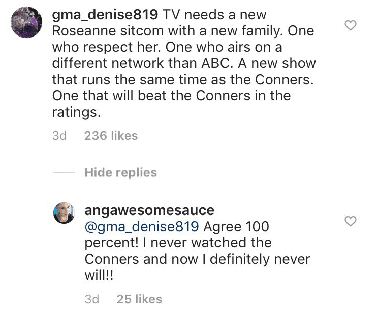 Screenshot from the comments from social media. | Source: Instagram.com/Officialroseannebarr