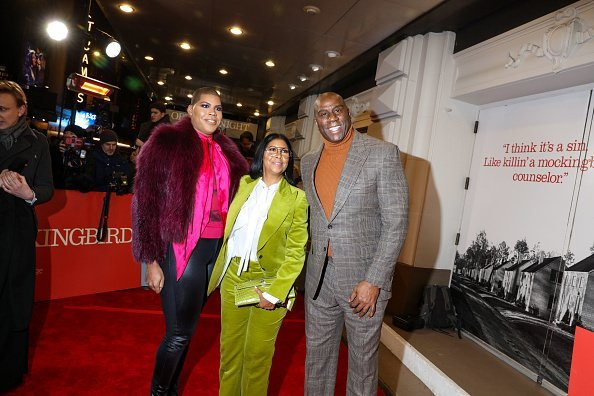 "E.J., Cookie and Magic Johson at the red carpet on opening night of ""To Kill a Mockingbird"" on December 13, 2018 