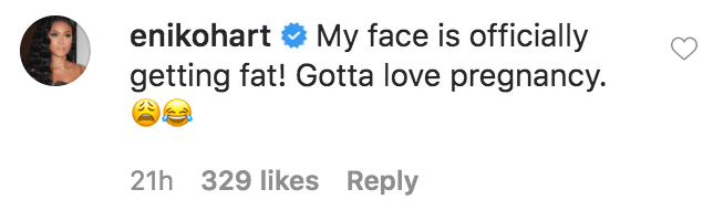 Eniko Hart commented on a photo of herself and her husband Kevin Hart having a virtual interview for Fablectics sportswear  Source: Instagram.com/kevinhart4real