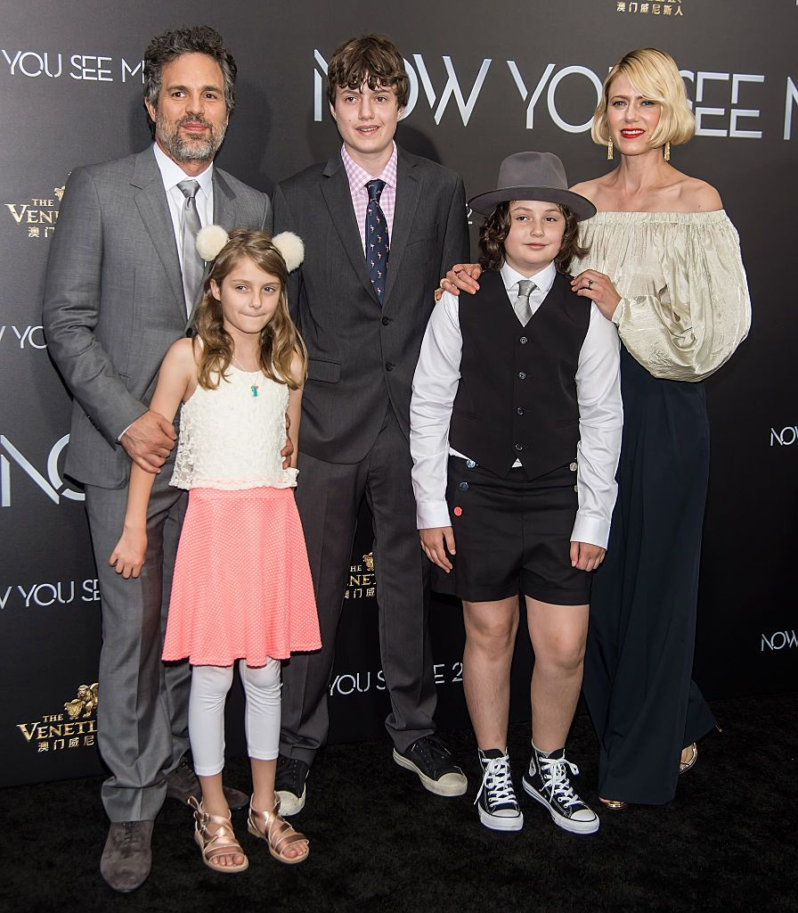 "Mark Ruffalo, his wife Sunrise Coigney, their children Odette, Keen, and Bella Ruffalo at the ""Now You See Me 2"" World Premiere on June 6, 2016, in New York City 