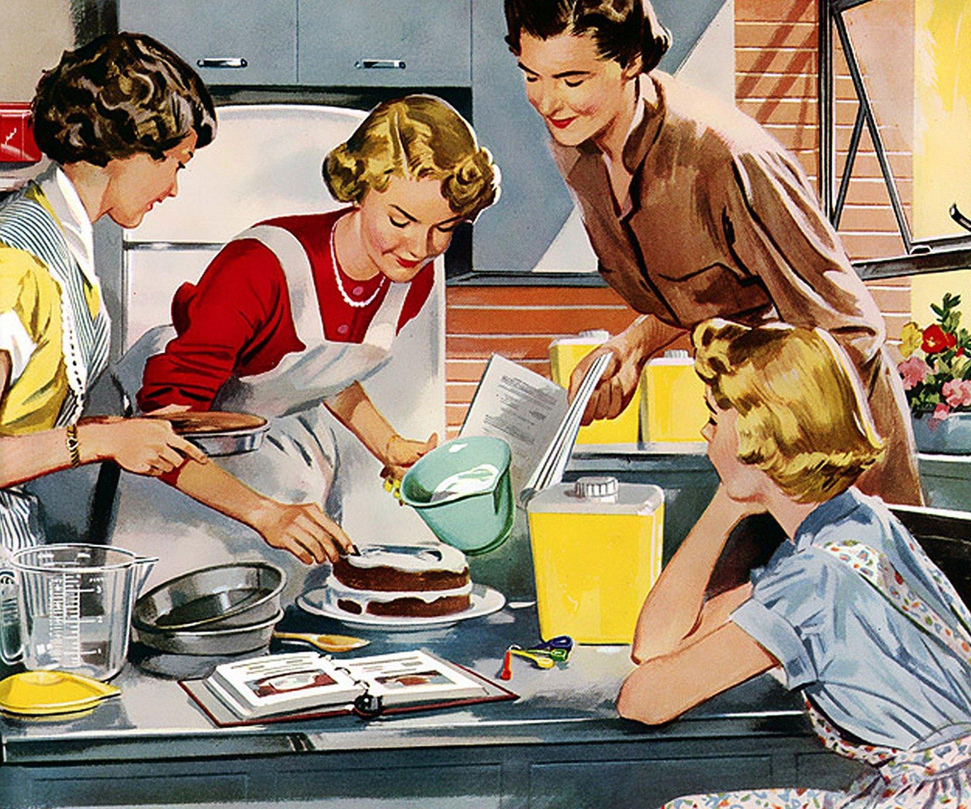 Amas de casa decoran pastel. Fuente: Pixabay