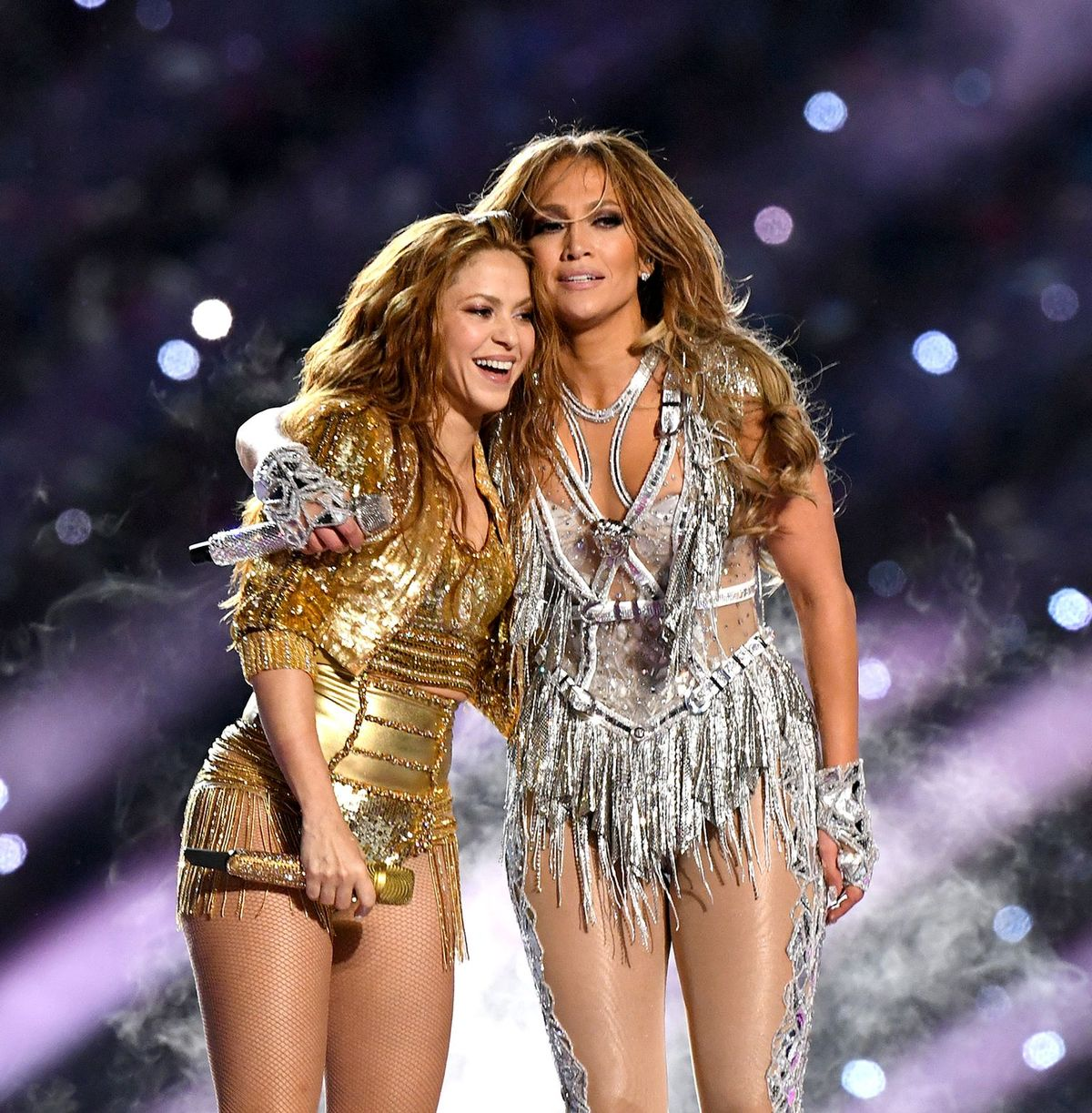 Shakira and Jennifer Lopez onstage during the 2020 Super Bowl LIV Halftime Show in Miami | Source: Getty Images