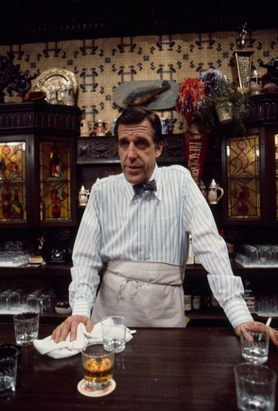 """Fred Gwynne appearing in the ABC television series """"The Corner Bar"""" in 1973. 