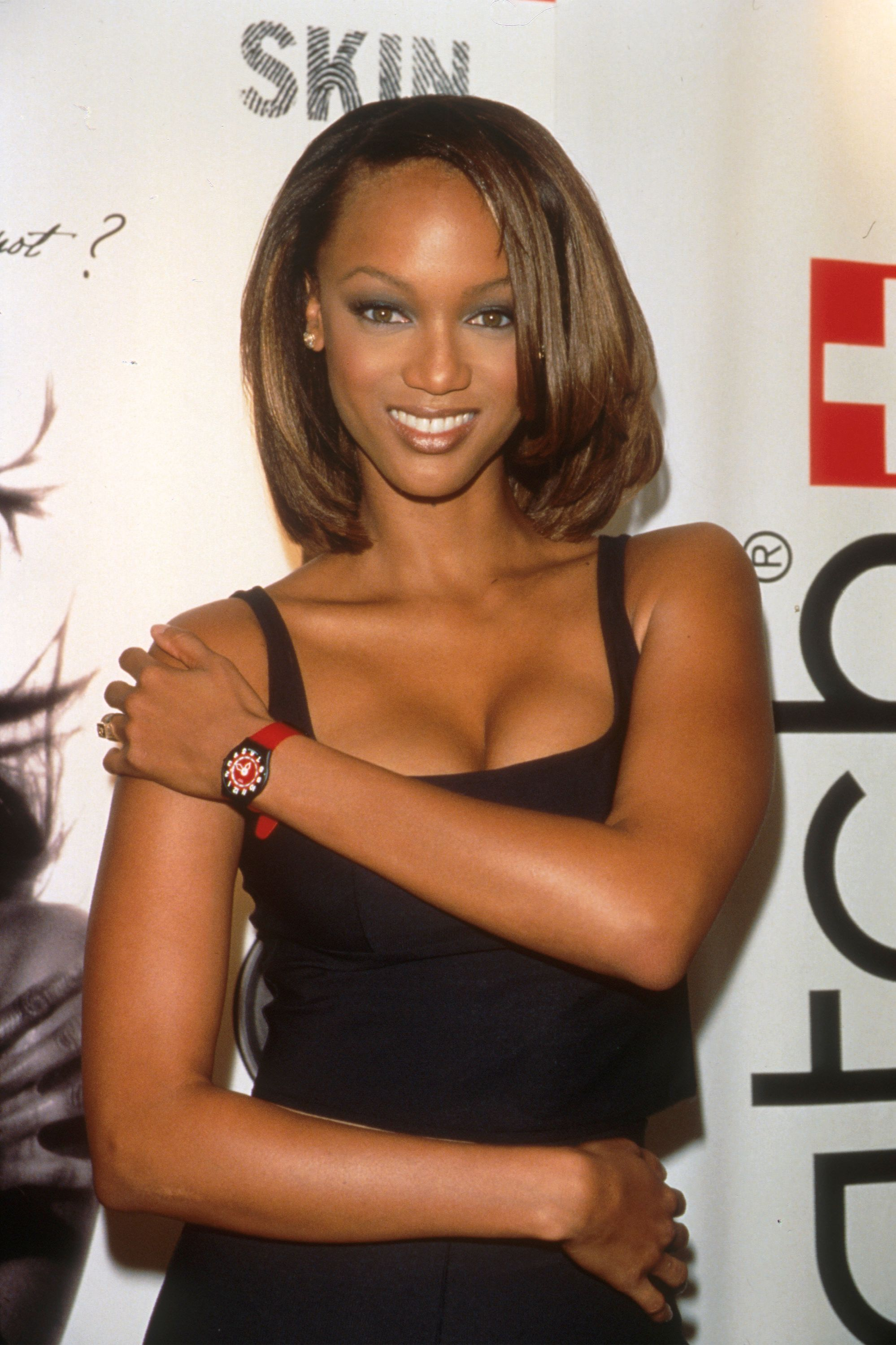 """Tyra Banks advertising the new Swatch """"Skin"""" on October 23, 1997 in New York. 