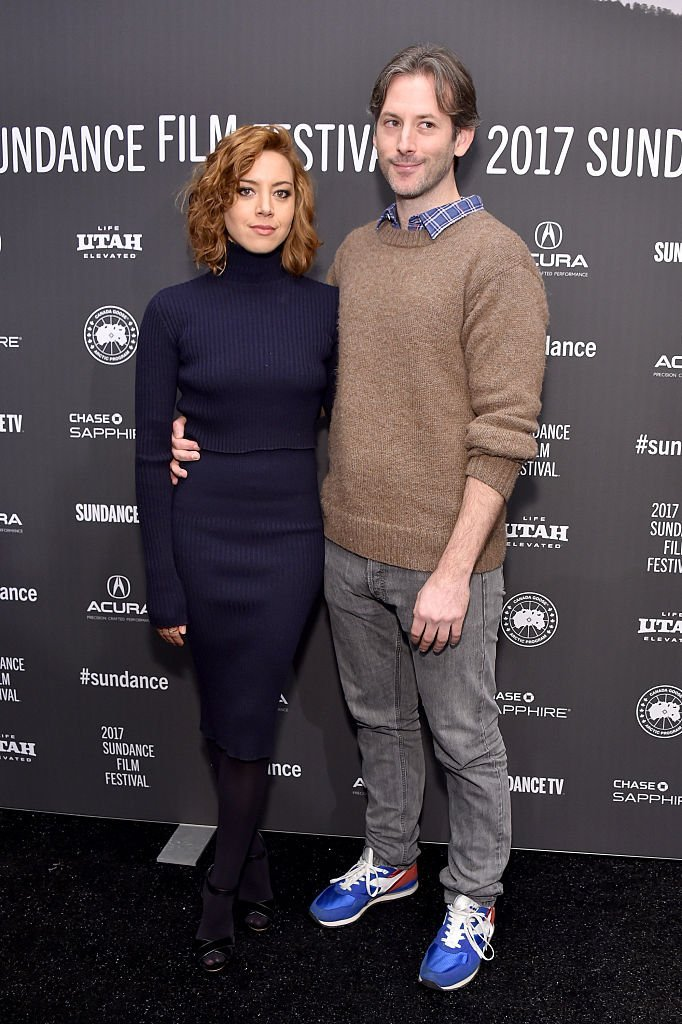 """Aubrey Plaza (L) and director Jeff Baena attend """"The Little Hours"""" premiere during day 1 of the 2017 Sundance Film Festival 