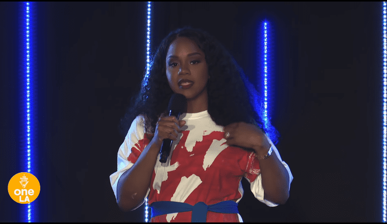 Sarah Jakes Roberts in the middle of a speech | Photo: YouTube/The Potter's House at OneLA x Denver