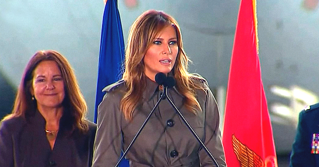 Melania Trump Looks Stylish in a Khaki Green Trench Dress & High Heels as She Meets 5th-Graders