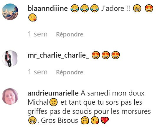 Les commentaires sur le compte Instagram de Michal. l Source : Instagram/ michal_officiel