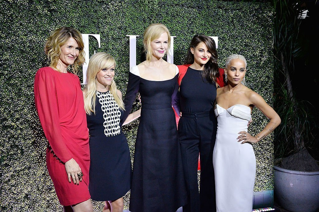 "Nicole Kidman stands in the center of fellow ""Big Little Lie"" actresses during ELLE's Women in Television Celebration in Los Angeles on January 14, 2017 