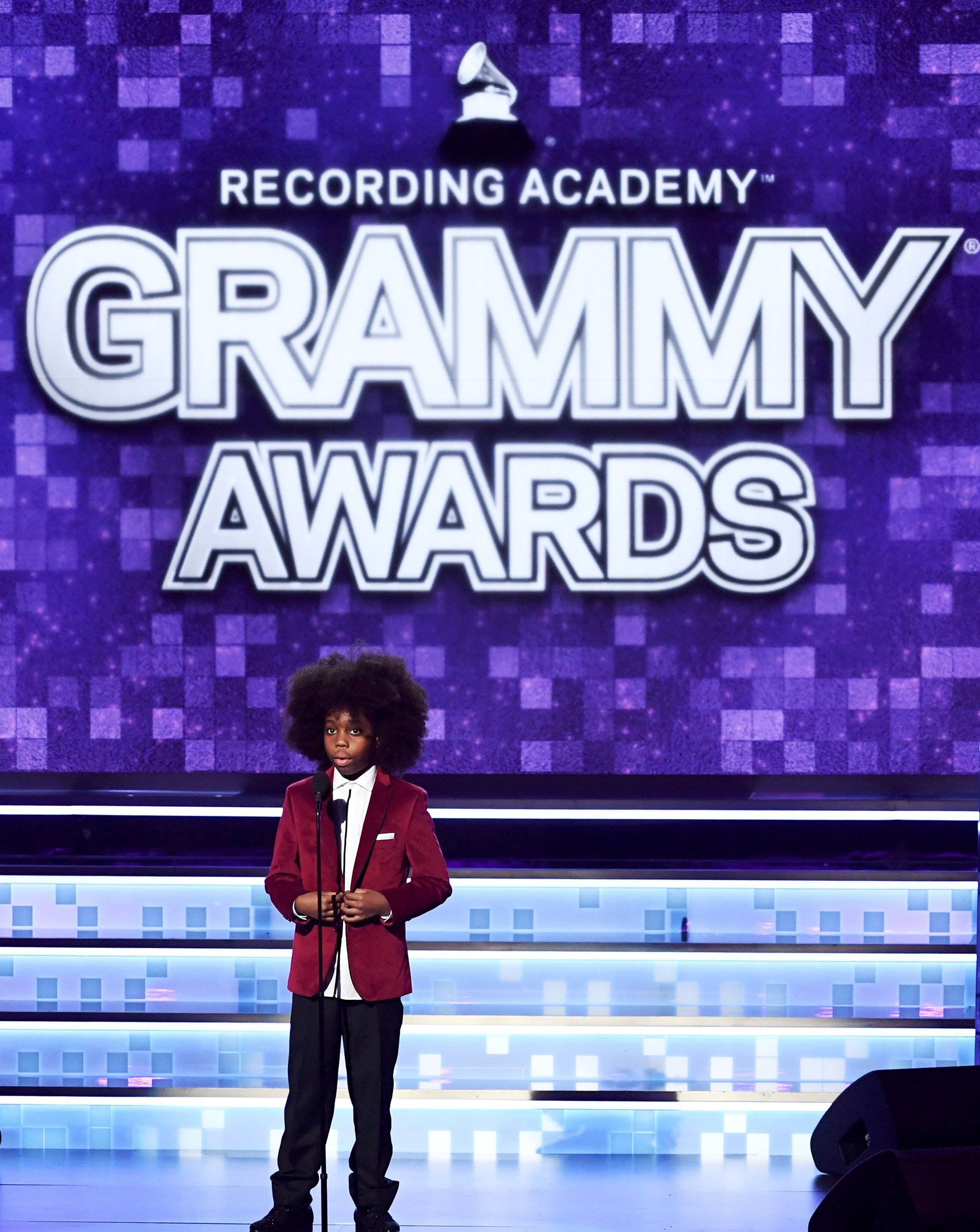 Raif-Henok Emmanuel Kendrick introducing hi grandma, Diana Ross, onstage at the 61st Annual GRAMMY Awards in Los Angeles on Feb. 10, 2019. | Photo: Getty Images
