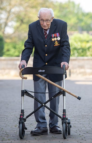 Captain Tom Moore at his home in Marston Moretaine, Bedfordshire on April 16, 2020.   Photo: Getty Images