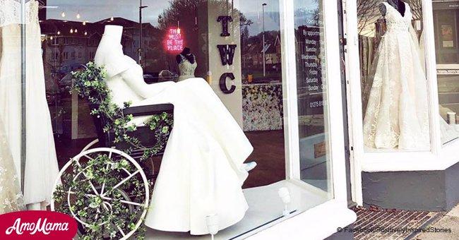 Une boutique de mariage a mis un mannequin dans un fauteuil roulant et le geste est rapidement devenu viral