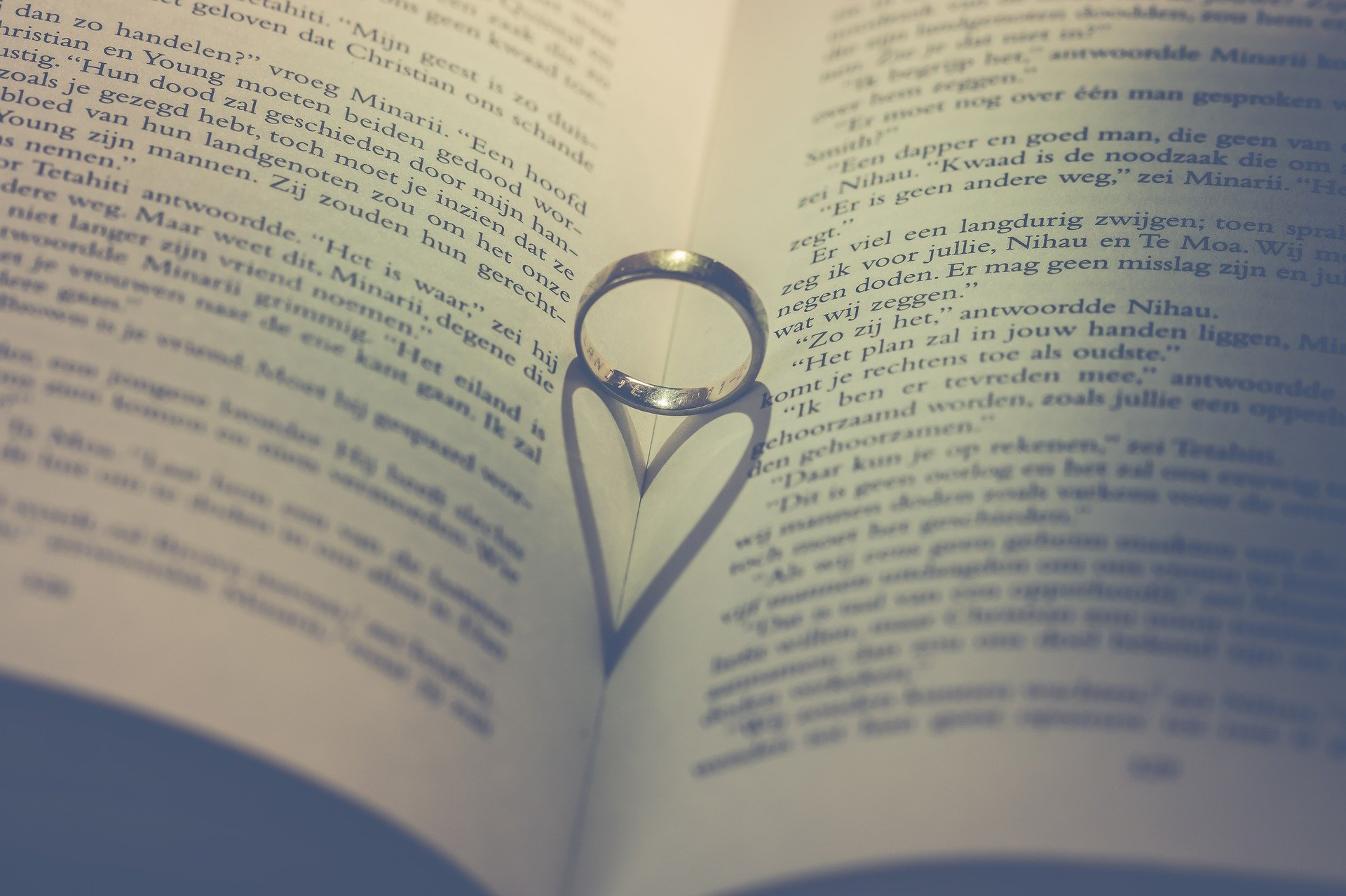 A wedding ring on an open book   Source: Pixabay
