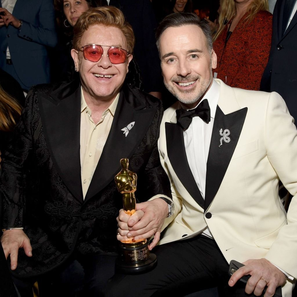 Elton John and David Furnish at the 28th Annual Elton John AIDS Foundation Academy Awards Viewing Party sponsored by IMDb, Neuro Drinks and Walmart on February 09, 2020 | Photo: Getty Images