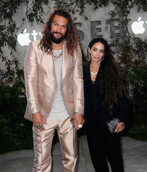 "Jason Momoa and Lisa Bonet arrive for the World Premiere Of Apple TV+'s ""See"" on October 21, 2019 in Los Angeles, California 