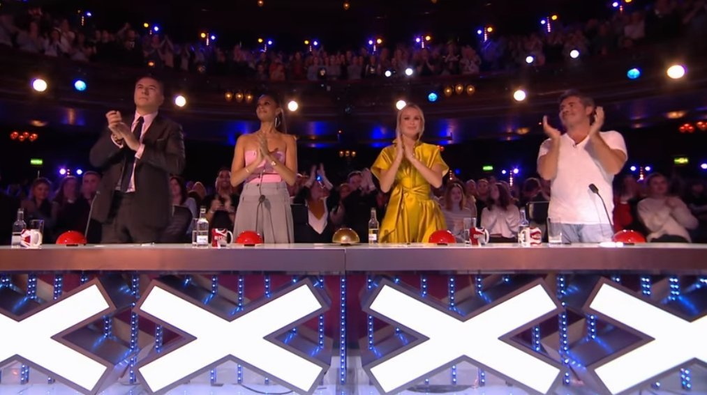 """Judges on """"Britain's Got Talent"""" giving a standing ovation after Kerr James' performance in May 2019 