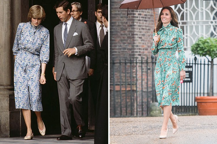 Princess Diana during her wedding rehearsal in 1981 and Duchess Kate Middleton in August 2017 | Photo: Getty Images