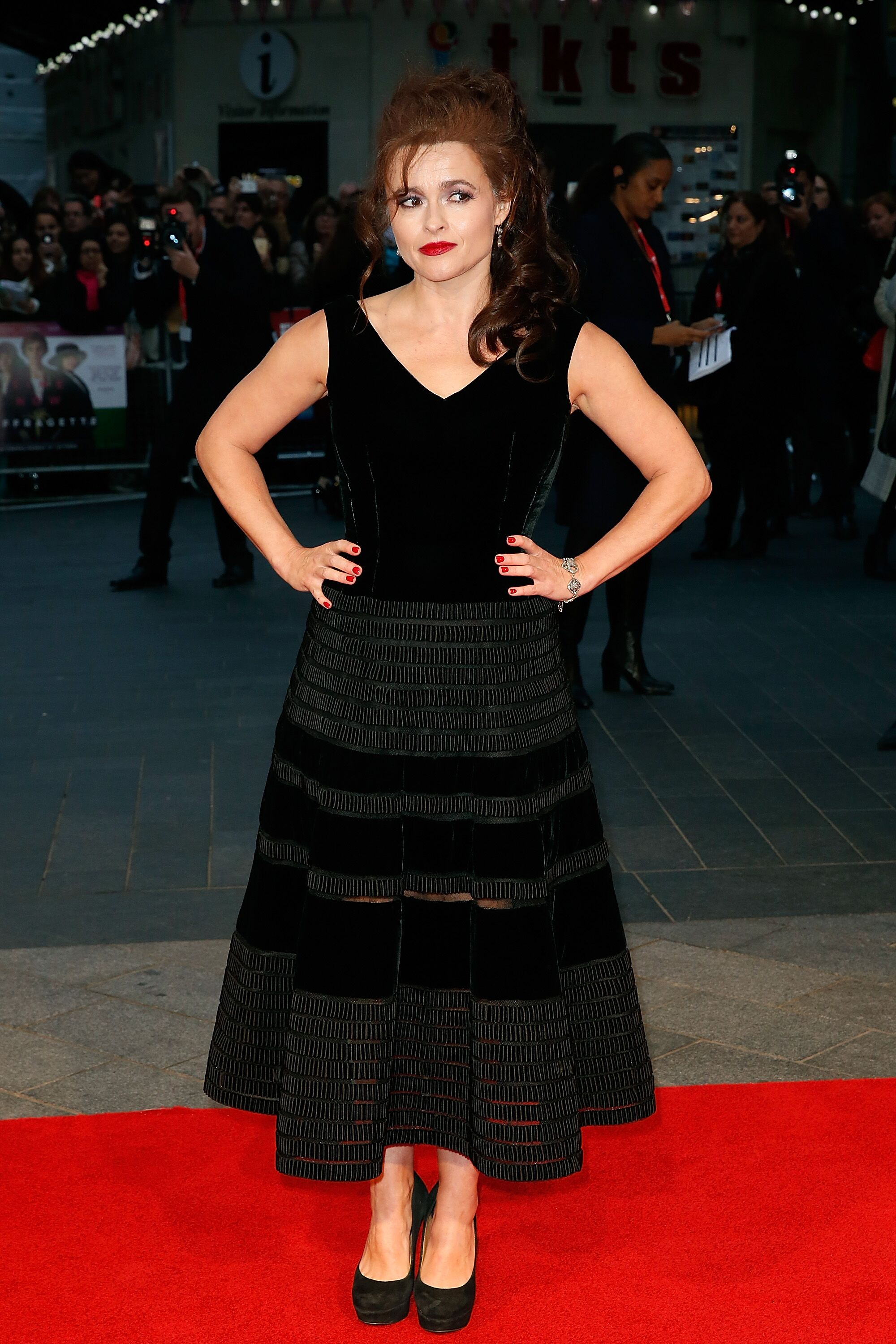 """Helena Bonham Carter attends the """"Suffragette"""" premiere on October 7, 2015. 