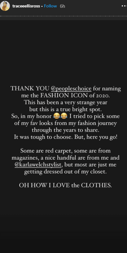 Tracee Ellis Ross's message after winning the 2020 People's Choice Fashion Icon Award. | Photo: instagram.com/traceeellisross