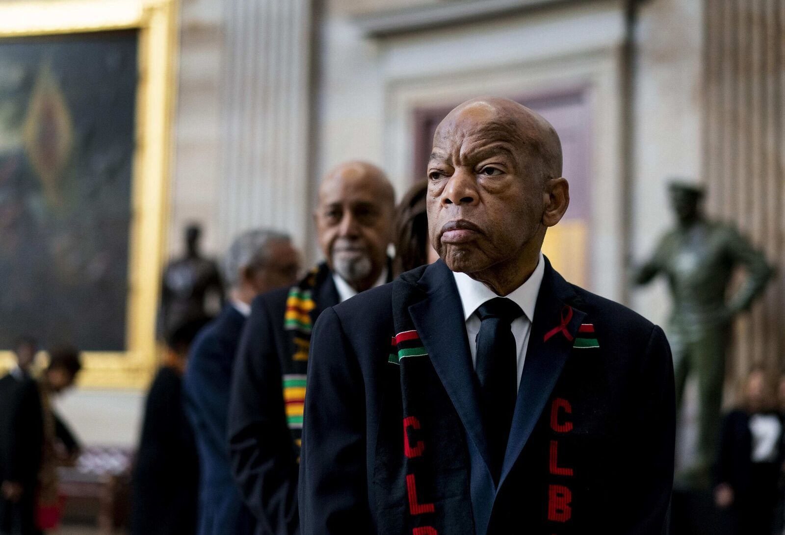 Rep. John Lewis prepares to pay his respects to Representative Elijah Cummings during a memorial ceremony on Capitol Hill in Washington, DC. | Source: Getty Images