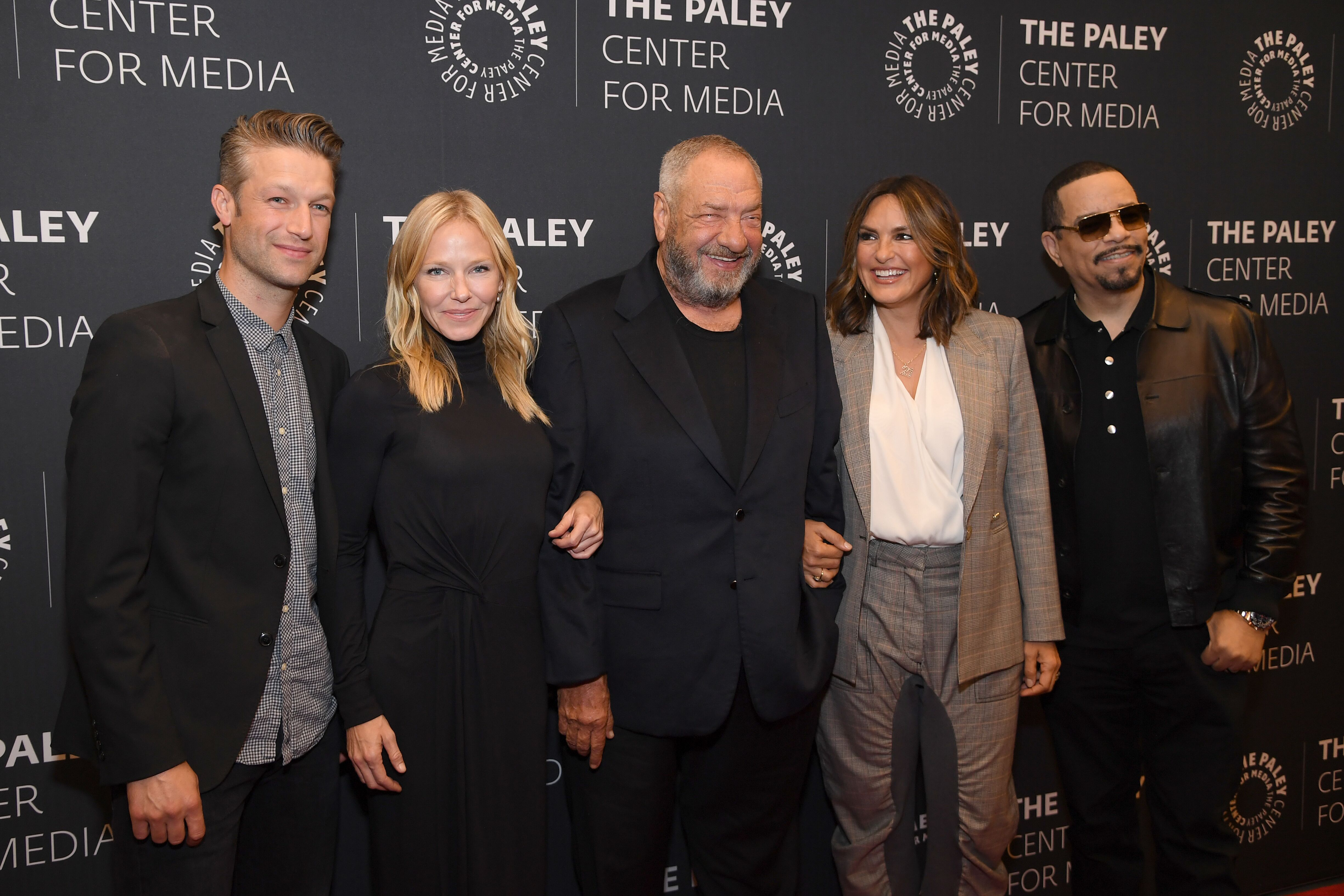 "Marishka Hargitay, Peter Scanavino, Kelli Giddish, Dick Wolf, and Ice-T at the ""Law & Order: SVU"" Television Milestone Celebration 