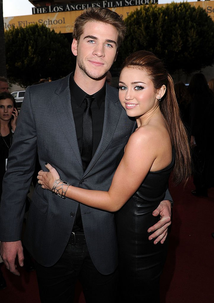 "Liam Hemsworth and Miley Cyrus at the premiere of ""The Last Song"" on March 25, 2010. 