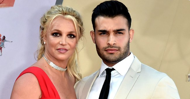 """Britney Spears and Sam Asghari at the Los Angeles premiere of """"Once Upon A Time In Hollywood"""" at TCL Chinese Theatre in Hollywood, California 