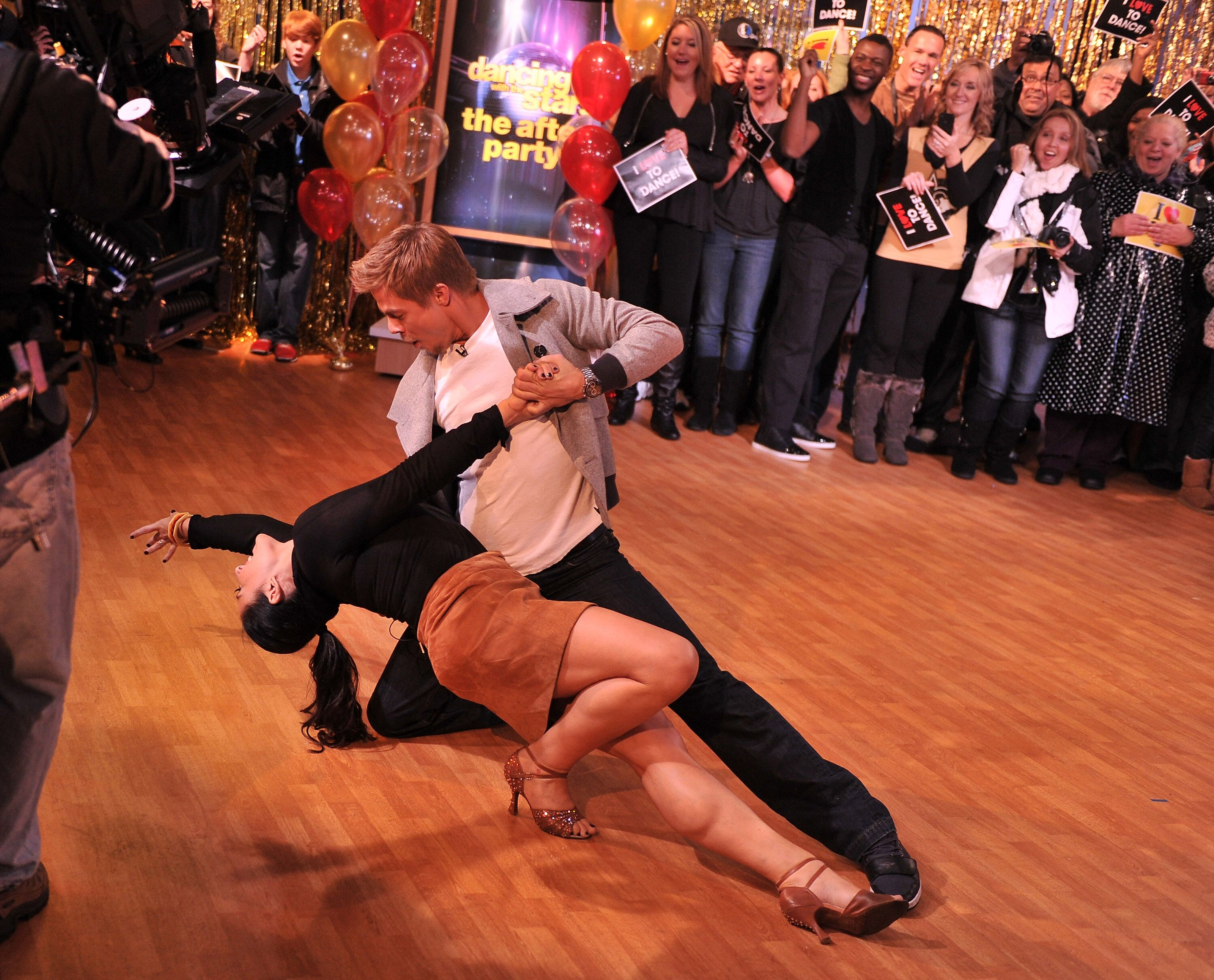 "icki Lake and dance instructor Derek Hough from the cast of ""Dancing With The Stars"" 