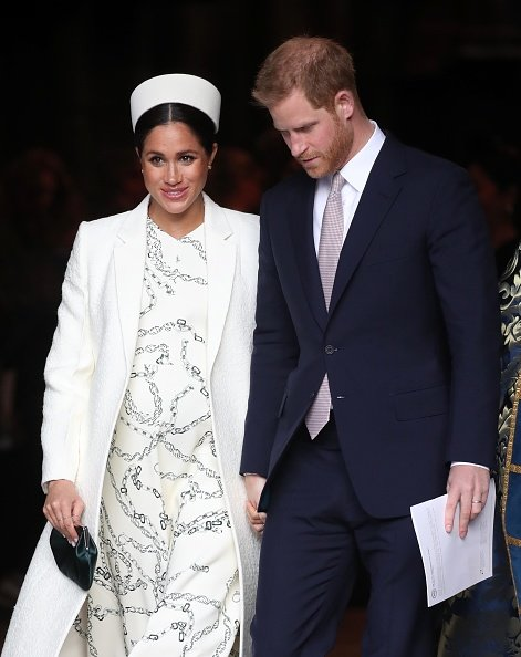Meghan Markle and Prince Harry depart the Commonwealth Service on Commonwealth Day at Westminster Abbey on March 11, 2019, in London, England. | Source: Getty Images.