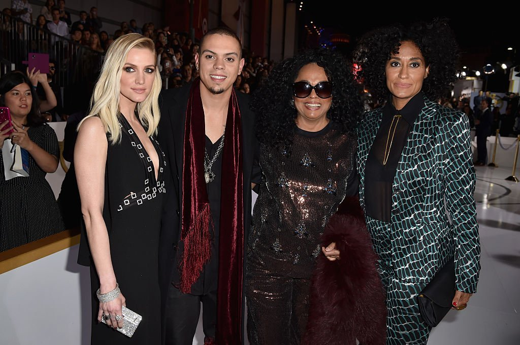 Ashlee Simpson, Evan Ross, Diana Ross and Tracee Ellis Ross at Nokia Theatre L.A. Live | Source: Getty Images